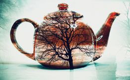 Doppelbelichtung des Teetopfes lizenzfreie stockbilder