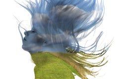 Doppelbelichtung einer Frau und der Natur Lizenzfreie Stockfotografie