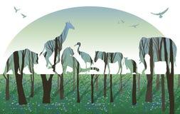 Doppelbelichtung, Konzept der wild lebenden Tiere stock abbildung