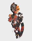 Doppelbelichtungsafrikaner und -blumen stockfotografie