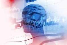 Doppelbelichtungsbild der virtuellen Illustration des Menschen 3d Stockfotos
