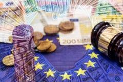 Doppelbelichtungsdollar gegen Euro Stockfoto