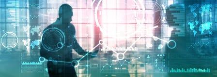 Doppelbelichtungsfinanzdiagrammdiagrammdiagramm und -ikone der Geschäftsschnittstellengemischten medien auf virtuellem Schirm Ers lizenzfreie stockbilder