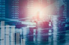 Doppelbelichtungsfinanzindizes und Börse in der Buchhaltung Stockfotos