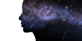 Doppelbelichtungsfrau und -galaxie Stockfotografie