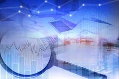 Doppelbelichtungsgeschäft und Finanzkonzept, Börsedaten Lizenzfreie Stockfotos