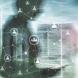 Doppelbelichtungsleute-Netz structureÑŽÑŽ Stunde - Personal Management und Einstellungskonzept stockbilder