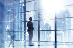 Doppelbelichtungsleute-Netzstruktur, Stunde - Personalwesen Management und Einstellungskonzept lizenzfreies stockfoto