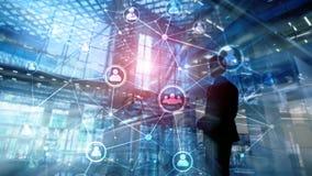Doppelbelichtungsleute-Netzstruktur Stunde - Personalwesen Management und Einstellungskonzept stockfotos