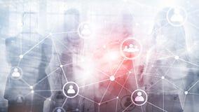 Doppelbelichtungsleute-Netzstruktur Stunde - Personalwesen Management und Einstellungskonzept stockfoto