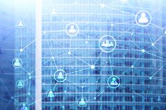 Doppelbelichtungsleute-Netzstruktur Stunde - Personalwesen Management und Einstellungskonzept lizenzfreies stockfoto