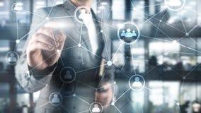 Doppelbelichtungsleute-Netzstruktur Stunde - Personalwesen Management und Einstellungskonzept lizenzfreie stockfotografie