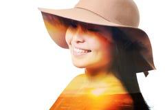 Doppelbelichtungsporträt einer Frau Stockfotos