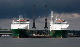 Doppelboote und Doppelkräne Lizenzfreie Stockfotos