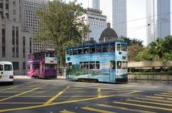 Doppeldecker-Straßenbahn Stockbild