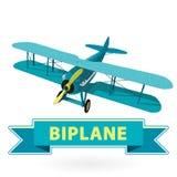 Doppeldecker vom Weltkrieg mit blauer Beschichtung Propeller der vorbildlichen Flugzeuge Lizenzfreies Stockfoto