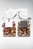 Doppelluxusplastiktaschen von frischen Kastanien mit leeren Aufklebern Lizenzfreies Stockfoto