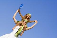 Doppelpolspaß, glückliche Mama und Kind Lizenzfreies Stockfoto
