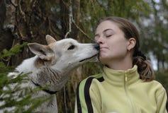 Doppelporträt des Mädchens und des Hundes im Holz Stockfotos