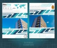 Doppelseitiger Broschüren- oder flayerschablonenentwurf mit unscharfen Farbfotoaußenelementen Modellabdeckung in blauem abstarct  lizenzfreie abbildung