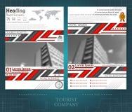 Doppelseitiger Broschüren- oder flayerschablonenentwurf mit unscharfen Schwarzweiss-Fotoaußenelementen Modellabdeckung im schwarz lizenzfreie abbildung