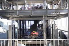 Doppelstöckige Drahtseilbahn Cabrio, Stanserhorn Stockfotografie