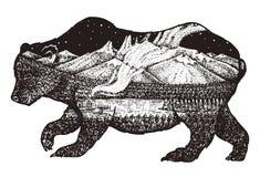 Doppelte Berührung Bär mit wildem Tier der Berg-, Raum und Waldzusammenfassung für Tätowierung oder Aufkleber Abbildung der roten stock abbildung