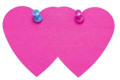 Doppelte Herz-Klebeetikette, mit Rosa ein blauer Stift, lokalisiert vektor abbildung