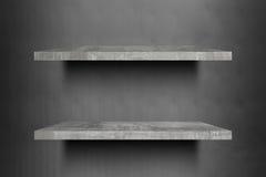 Doppelte leere konkrete Regale oberstesbereites zur Produktanzeigenmontage Lizenzfreie Stockfotos