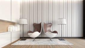 Doppelte Lehnsessel in der Wiedergabe Wohnzimmer/3D Stockfoto