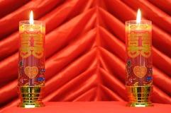 Doppelte rote Kerze lizenzfreies stockfoto