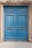 Doppelte Tür der blauen Weinlese Lizenzfreie Stockfotografie