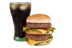 Doppelter Cheeseburger und Kolabaum Stockbild