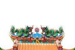 Doppelter Drache auf chinesischem Tempeldach Lizenzfreie Stockfotografie