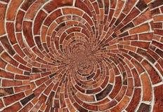 Doppelter gewundener Wand-Beschaffenheitshintergrund des Effektzusammenfassungs-roten Backsteins Bogenbogenmosaik-Ziegelsteinwand stock abbildung