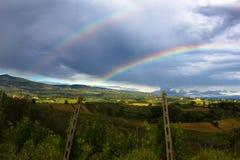 Doppelter Regenbogen über Weinberg Lizenzfreie Stockbilder
