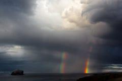 Doppelter Regenbogen Stockfoto