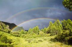 Doppelter Regenbogen stockfotografie