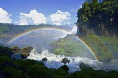 Doppelter Regenbogen bei den Iguaçu-Wasserfälle in Argentinien Lizenzfreies Stockfoto