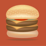 doppelter Rindfleischburger mit Käsevektor Lizenzfreie Stockbilder