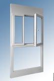 Doppeltes Fenster der Tür der Holzverkleidung eine im Verbindung mit Aluminium stockbilder