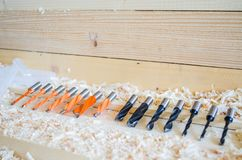 Doppeltes Flötendübelbohrgerät Präzisionswerkzeuge für Holzbearbeitungsindustrie lizenzfreies stockfoto