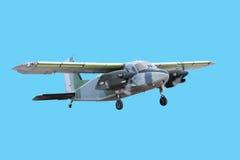 Doppeltes Motorflugzeug trennte Stockfotos