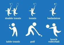 Doppeltes Tennis, Tennis, Badminton, Tischtennis, Golf, Strandvolleyball-Sportikonen Lizenzfreies Stockfoto