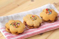 Doppi biscotti casalinghi deliziosi del miele Fotografia Stock