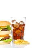 Doppi cheeseburger, soda e patate fritte immagini stock