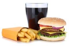 Doppi hamburger del cheeseburger e pasto c combinata del menu delle patate fritte Fotografia Stock Libera da Diritti