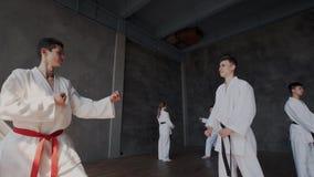 Doppi o duelli a scuola del taekwondo Gli allievi stanno in una posizione combattente ed effettuano i colpi Attacco valido e archivi video