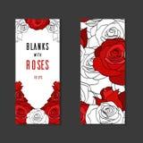 Doppi spazii in bianco dei lati con le rose dipinte Fotografie Stock