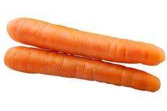 Doppia carota orizzontale isolata su fondo bianco Fotografia Stock